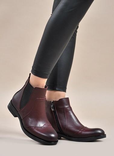 Vizon Ayakkabı Hakiki Deri Bot Bordo